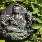 Natural purple gray jade, Lotus Goddess of Mercy. Amulet. Necklace Pendant 47x45x8 mm