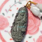 Natural purple gray jade, Lotus Goddess of Mercy (standing). Amulet. Necklace Pendant 44x19 mm
