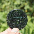 Transparent sculpture. Dark green jade amulet Erlongxizhu, Tai Chi Bagua map, necklaces, pendants