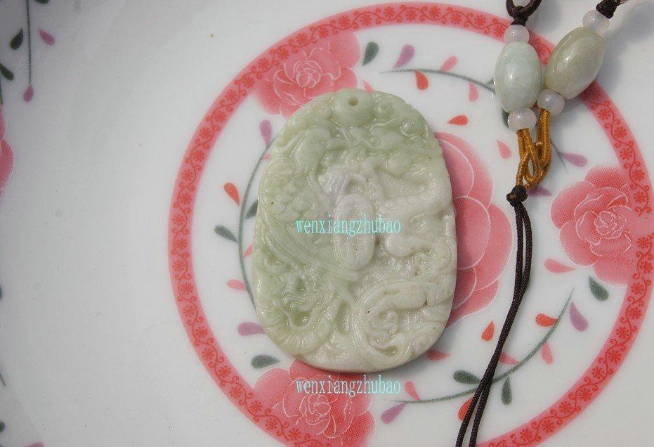 Natural light green jade pendant, handmade. (Auspicious Sabrina) .. necklace 48x33x5mm
