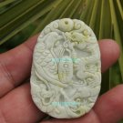 Natural white floating yellow jade pendant, handmade. (Auspicious) Sabrina .. necklace 48x33x5mm