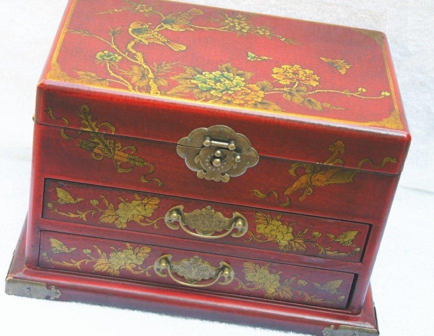mitation antique vanity box, chestnut wood, two drawers