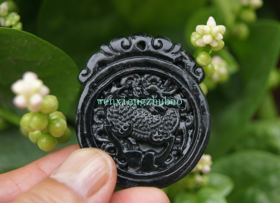 Xinjiang natural black jade , hand-carved jade pendant. Amulets unicorn , 46x40x5mm