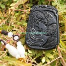 Hand-carved jade pendant trapezoid . Amulet Phoenix . Natural dark green jade. 51x38x4mm