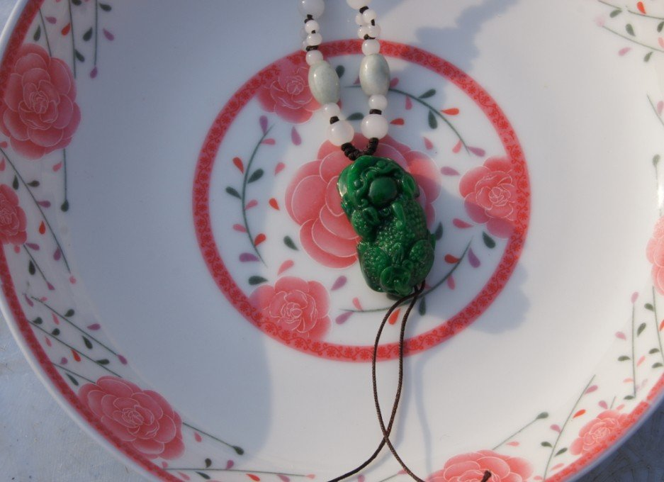 Green jade , hand-carved brave, pendant necklace , 36x17x11mm