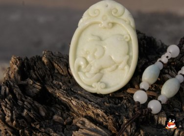 Hand-carved natural jade pendant, ( rich pig ) . Necklace Pendant 48x35x6mm