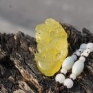 Hand-carved natural yellow jade pendant, amulet ( Kirin ) . Necklace Pendant 42x22x8mm