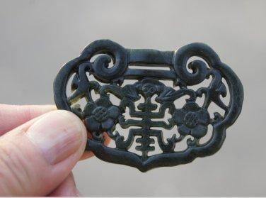 Natural dark green jade , hand-carved plum Longevity longevity lock , necklaces , pendants