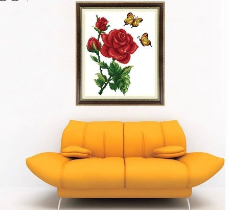 Butterfly Rose (Butterflies) cross-stitch finished painting the living room 23x38cm