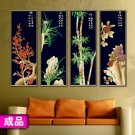 Plum Orchid Bamboo (black) cross-stitch finished painting the living room 22x66cm