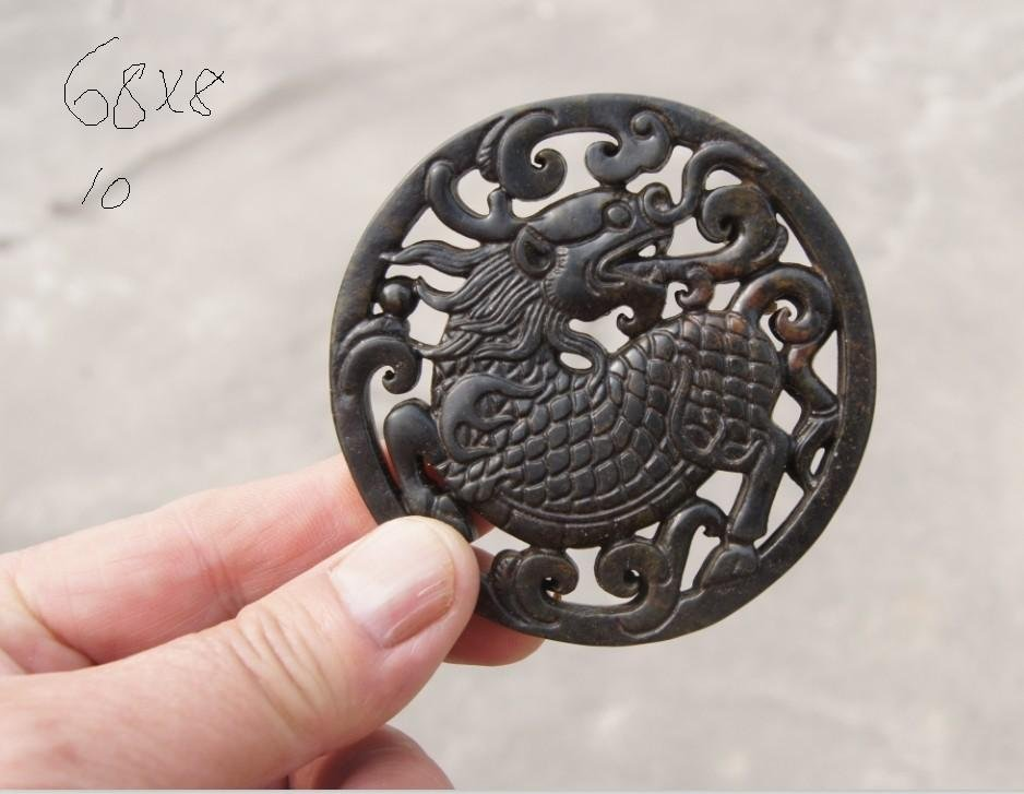 Natural dark green jade hand- carved double-sided , amulets , round unicorn , necklaces , pendants