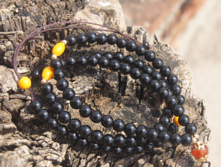 Tibetan Buddhist prayer beads , natural obsidian beads 5 mm x130 . Necklace