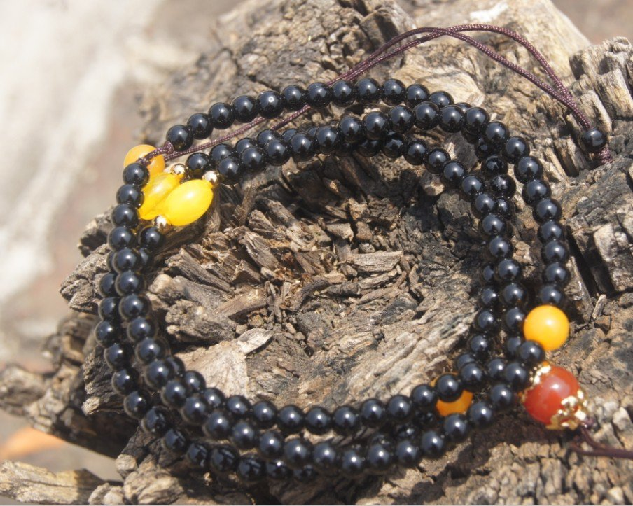 Tibetan Buddhist prayer necklace. Natural obsidian 6 mm 90 +5 beads, meditation, yoga beads.