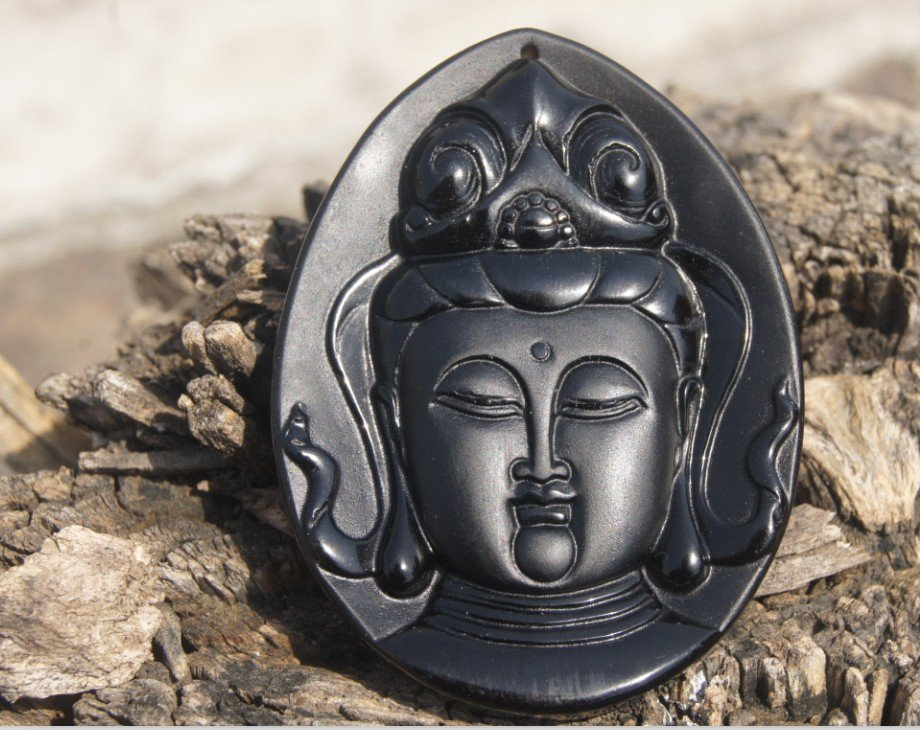 Natural obsidian pendant hand-carved. (Guanyin head) .. lucky necklace pendant 63x47x9mm