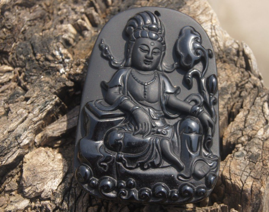 Obsidian Lotus Goddess of Mercy, natural hand-carved necklaces, pendants 63x44 x13mm