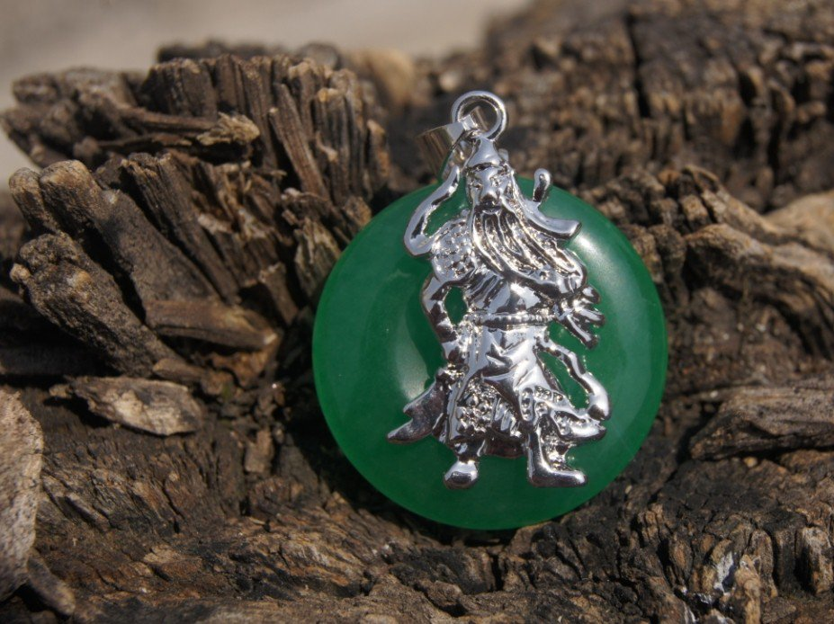 Guan Ping inlay alloy buckle (Four Seasons peace) green jade, (amulet). Necklace pendant