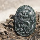 Tian Qingyu natural and hand-carved dragon and phoenix ( oval ) . Necklace Pendant 49x34 × 7mm