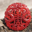 Red natural jade, ssangyong send blessing to send. Talisman necklace pendant.