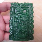 Natural green jade Hand carved Dragonfly nine days (rectangular) talisman necklace pendant