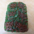 Natural green jade Hand carved Double dragon dance (trapezoid) talisman necklace pendant