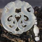 White jade hand carved Ssangyong play pearl Talisman necklace pendant (oval)