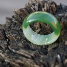 Manual sculpture Natural green white agate rings (inner diameter) 18 to 20 mm