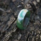 Natural green blue and white longan agate Manual sculpture ring (Canon) 18-20 mm