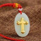 Gold inlaid jade amulet Christian crosses, necklaces and pendants