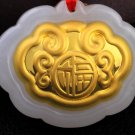 Gold inlaid jade ChangMingSuo everyone talisman necklace and pendant