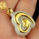 Gold inlaid jade pendant love lucky necklace and pendant (either)