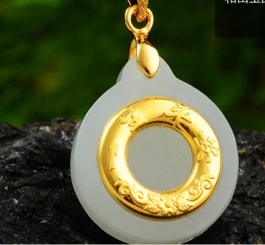 Gold inlaid jade lucky pendant peace necklace and pendant (peace is a blessing)