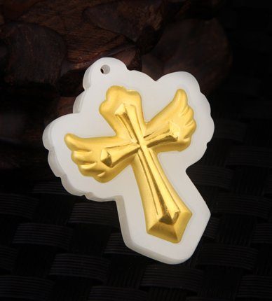 Gold inlaid jade cross pendant (Jesus Christ) lucky necklace and pendant