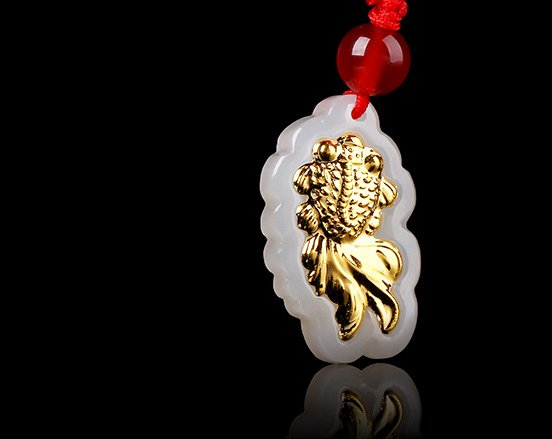 Goldfish gold inlaid jade pendant year after year (more than) lucky necklace and pendant