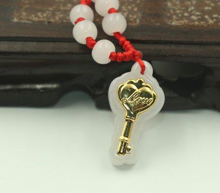 Happy gold inlaid jade key (key). Lucky necklace pendant.