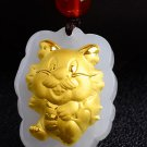 Gold inlaid jade amulet zodiac necklace and pendant (cartoon dragon)