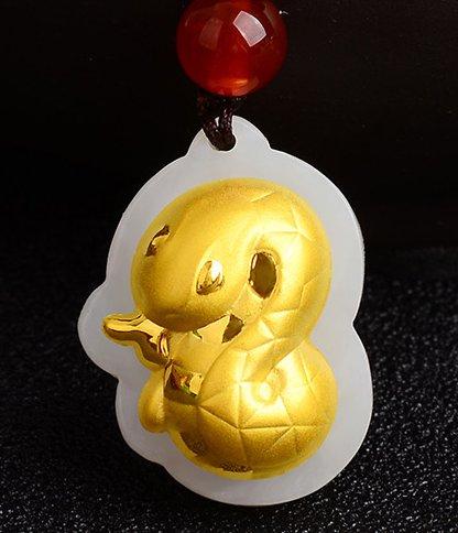 Gold inlaid jade amulet zodiac necklace and pendant (cartoon snake)