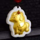 Gold inlaid jade amulet constellation necklace and pendant (cartoon horse)