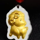 Gold inlaid jade amulet constellation necklace and pendant (sheep) cartoon