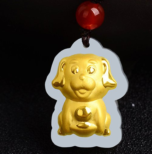 Gold inlaid jade amulet constellation (cartoon dog) lucky necklace and pendant