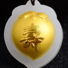 Lucky gold inlaid jade pendant peach (live). Necklace pendant.