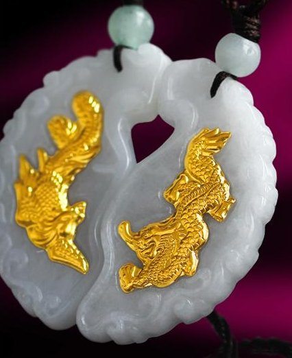 Gold inlaid jade concentric longfeng (lovers). Talisman necklace pendant.
