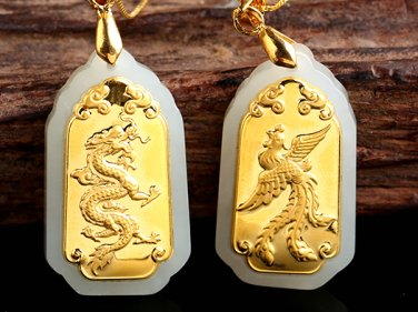 Gold inlaid jade rectangle longfeng (lovers). Talisman necklace pendant.