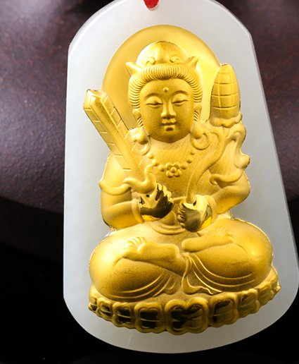Gold inlaid jade the void Tibet bodhisattva (patron). Talisman necklace pendant.