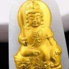 Gold inlaid jade manjusri bodhisattva (patron). Talisman necklace pendant.
