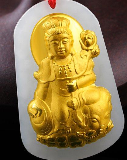 Lucky gold inlaid jade pendant samantabhadra bodhisattva (charm). Necklace pendant.