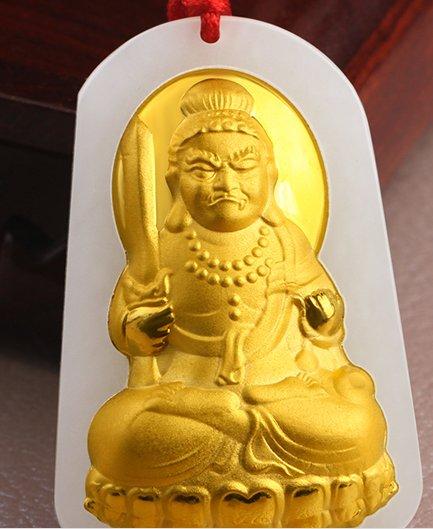 Lucky gold inlaid jade pendant Ming king bodhisattva (charm). Necklace pendant.