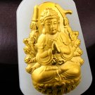 Lucky gold inlaid jade pendant of guanyin bodhisattva (charm). Necklace pendant.