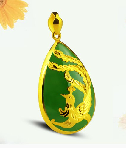 Gold inlaid jade green type (talisman) droplets phoenix necklace pendant