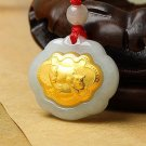 Gold inlaid jade (talisman) ChangMingSuo (cows) necklace pendant
