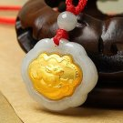 Gold inlaid jade (talisman) ChangMingSuo zodiac necklace pendant (moon)